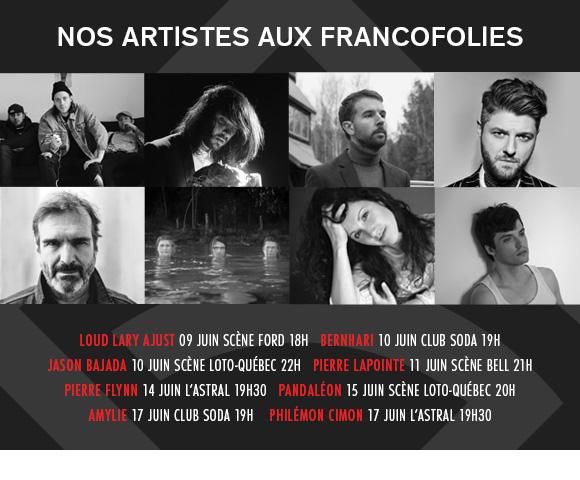 Nos artistes aux FrancoFolies